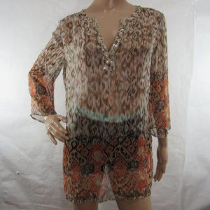 Chico's Tunic Blouse Sheer Top Beaded